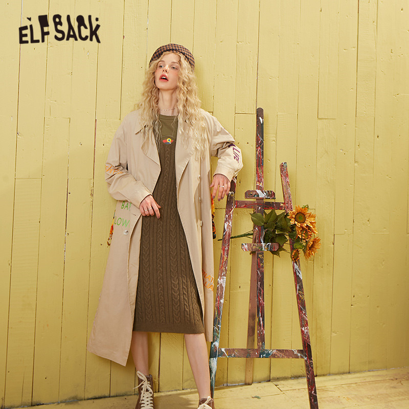 ELFSACK Khaki Solid Letter Embroidery Double Button Casual Women Trench Coat 2020 Spring Long Sleeve Belt Korean Ladies Outwears