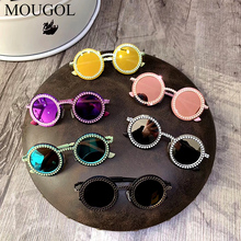 UV400 Round Metal Frame Sunglasses for Boys and Girls Children Korean Fashionable Kids Vintage Retro Childrens Shades