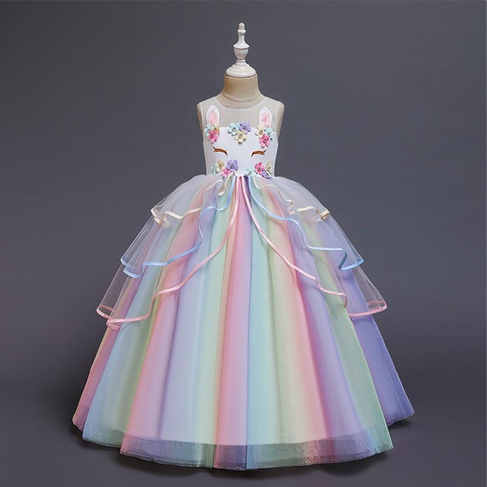 Arco-íris unicórnio vestido meninas elegante flor unicórnio