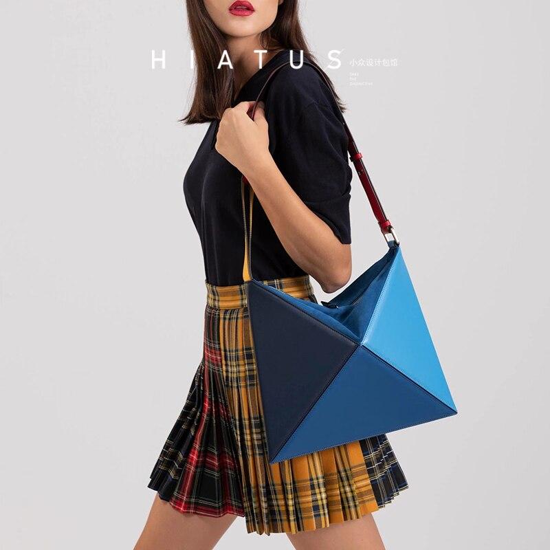 Fashion Triangle Foldable Women Shoulder Bags Designer Panelled Handbags Luxury Pu Leather Crossbody Bags Big Lady Clutch Purses