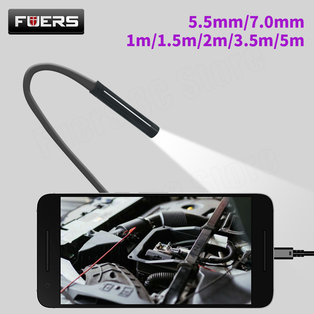 FUERS 5 5m 7mm Lens USB Endoscope Camera Waterproof Flexible Wire Snake Tube Inspection Borescope for OTG Compatible Android PC