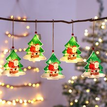 Christmas Ornaments PVC Hanging Pendant LED Light Santa Claus Christmas Decorations For Home Tree Decor Kids Gift Warm White