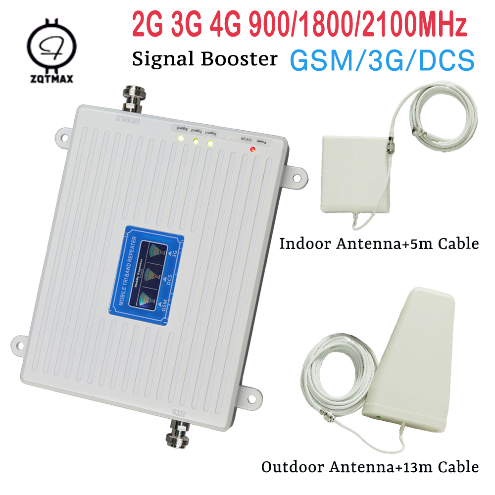 Tri Band GSM Repeater 900 WCDMA 2100 LTE 1800 2G 3G 4G Signal Booster 65dB Indoor Cellular Amplifier For Mobile Phone Full Sets