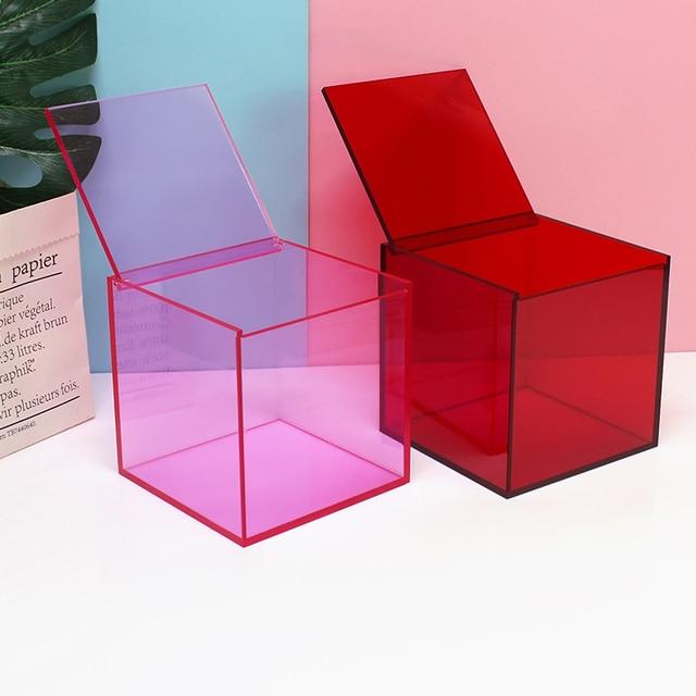Desktop home decoration storage box Cosmetics Lipstick office acrylic cover small box dust transparent 2