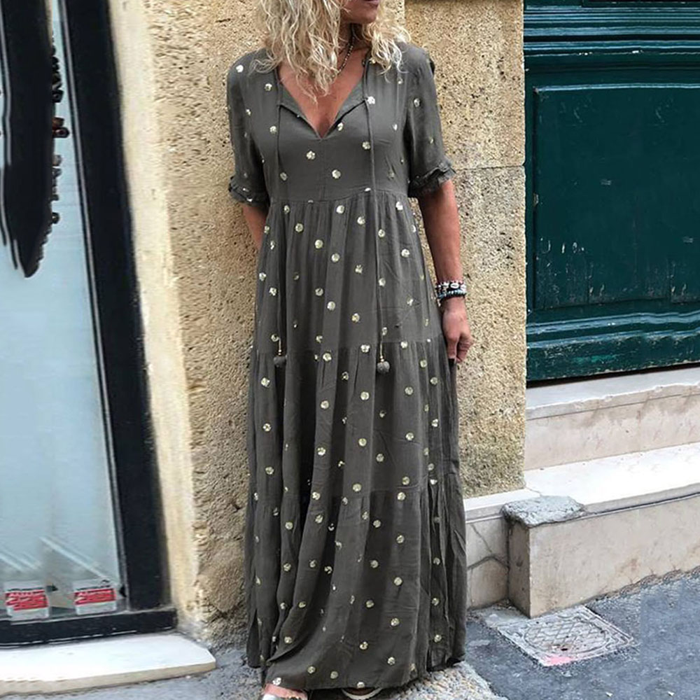 Green Dot Print Long Dress Women Lace-up Plus Size Evening Party Dresses 2020 Fashion Half Sleeve Lady Office Vestidos De Fiesta