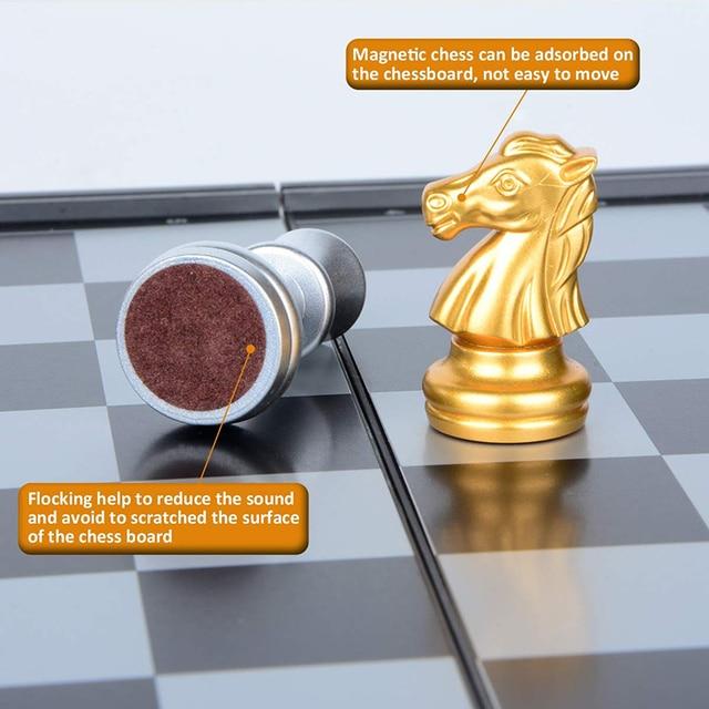 Jeu d'échecs magnétique pliable pour enfants ou adultes, 25x25cm, jeu d'échecs en Or et argent 6