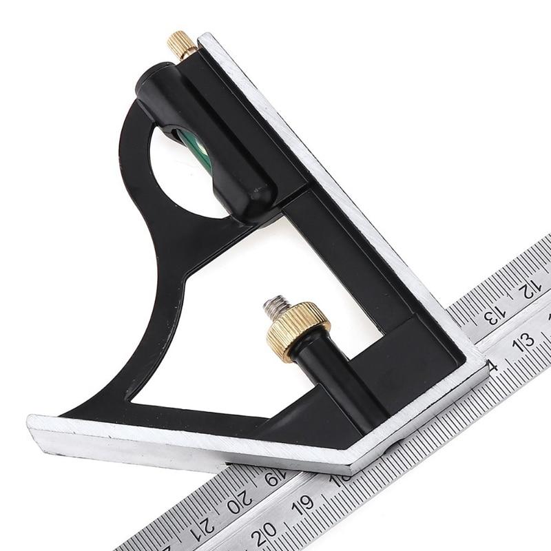 Купить с кэшбэком 300MM professional carpenter tools Combination Square Ruler Stainless Steel protractor Multi-function Measuring Tool