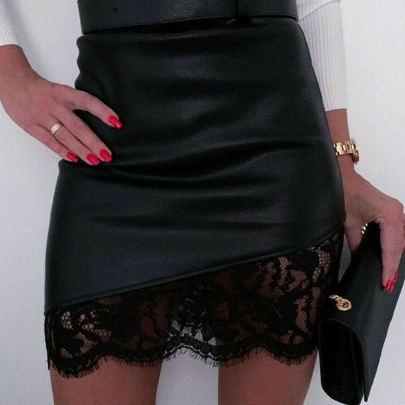 Fashion Lace Sexy Women Mini Slim Short Skirts High Waist PU Leather Pencil Bodycon Skirt OL Office Fashion Bottom Clothing 2020