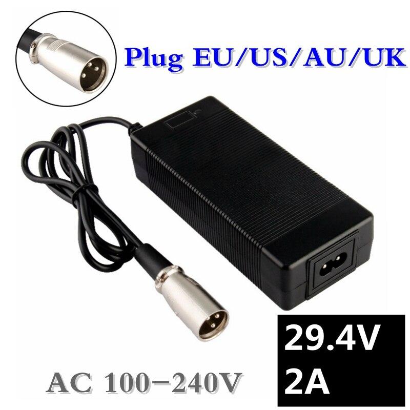 29.4V 2A Charger For 24V 25.2V 25.9V 29.4V 7S Lithium Battery Pack 29.4V Recharger E-bike Charger EU/AU/US Plug XLRM Connector