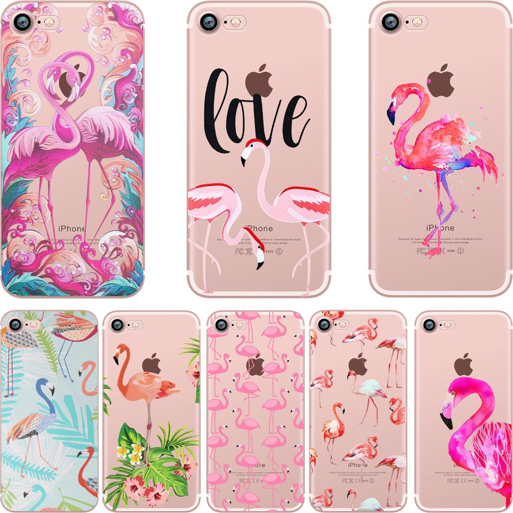 Funda de teléfono ciciber Summer Flamingos Love Funda de silicona transparente para Apple iPhone 7 6 6S 8 Plus X 5S SE Coque Fundas