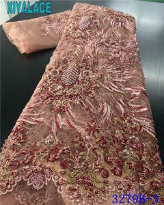 Dresses Lace-Fabric African Beaded Tulle Embroidered French Nigerian High-Quality