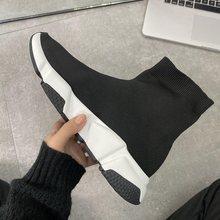 Original de alta qualidade unisex sapatos casuais plana moda meias botas mulher deslizamento-on elástico pano velocidade treinador corredor homem ao ar livre