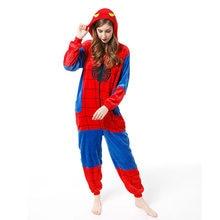 La familia de Halloween Cosplay disfraz Animal araña rojo pijama invierno calentito ropa de dormir de dibujos animados coincidentes trajes madre niños mono