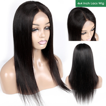 Aircabin 4x4 lace Closure Wigs 8-22 Straight Human Hair Wig Brazilian With Baby Non Remy Lace