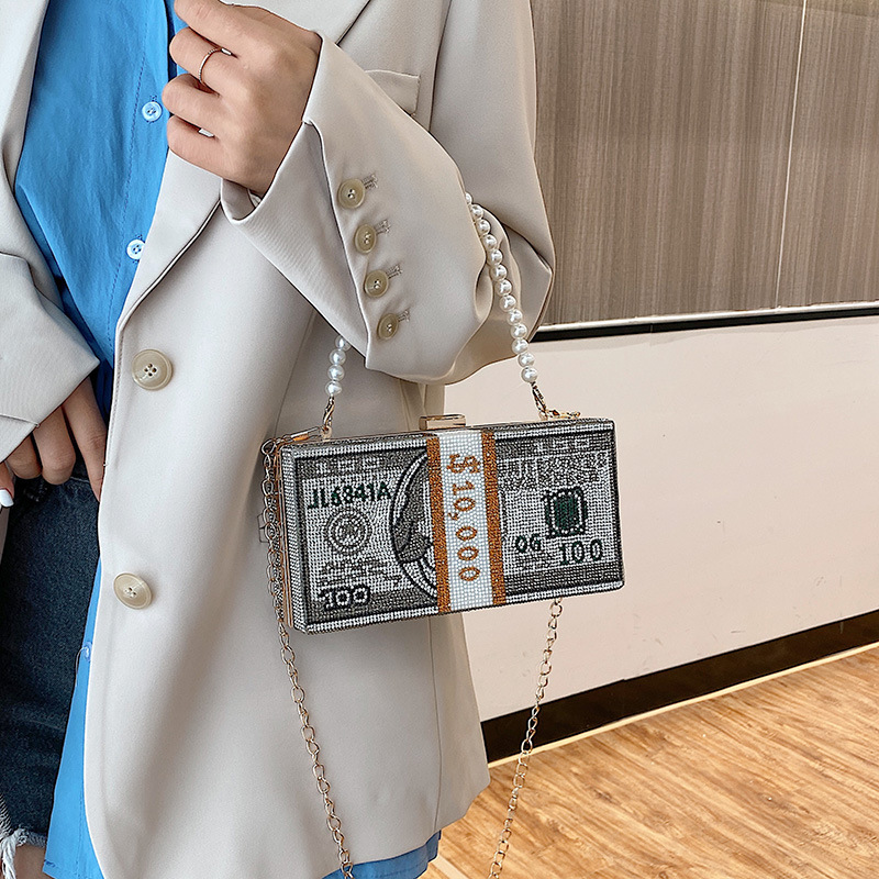 Stack of Cash Women Diamond Money Dinner Purses and Handbags Evening Clutch Bags for Female Chain Luxury Wedding Flaps Totes