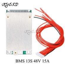 BMS 13S 48V 15A Li Ion pil koruma levhası PCB PCM ortak bağlantı noktası kablo e bike elektrikli Scooter için güç banka şarj
