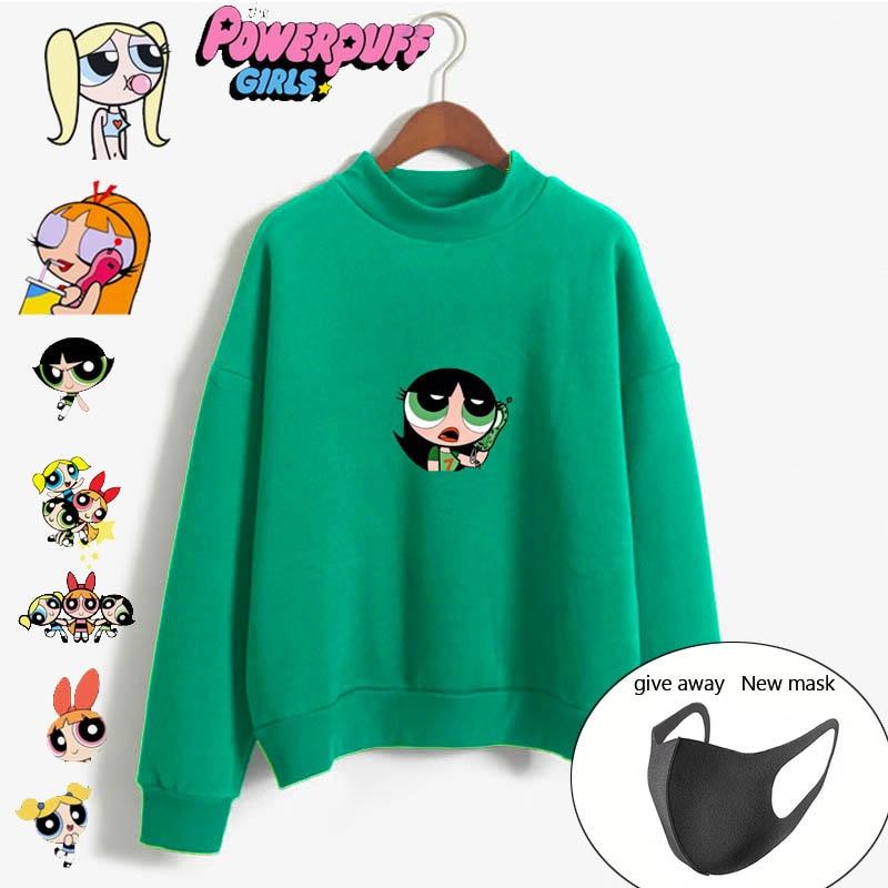 Cartoon Buttercup Powerpuff Aesthetic Hip Hop Leisure Sweatshirt Streetwear Harajuku Flecce Tops Hoodies Women Fashion Clothing