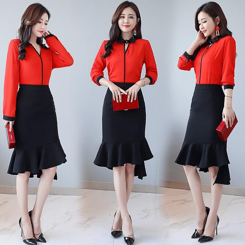 Set Autumn 2019 Spring New Style WOMEN'S Dress Korean-style Fashion Elegant Long-sleeve Blouse Slim Fit Skirt Two-Piece Set