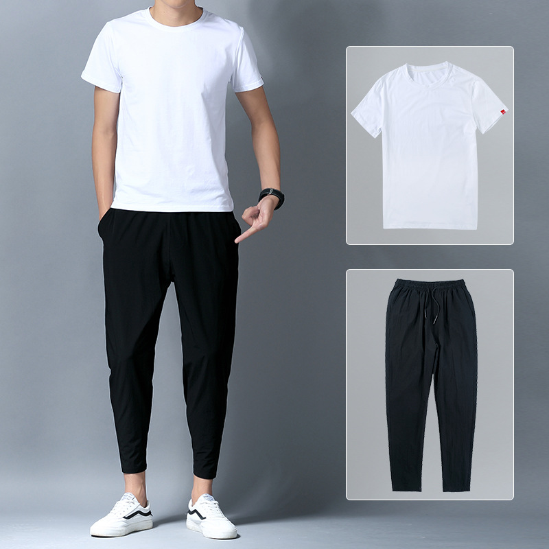 Men Leisure Sports Suit 2018 Men'S Wear Autumn New Arrival Short Sleeve T-shirt New Style Capri Pants Korean-style Trend Clothes