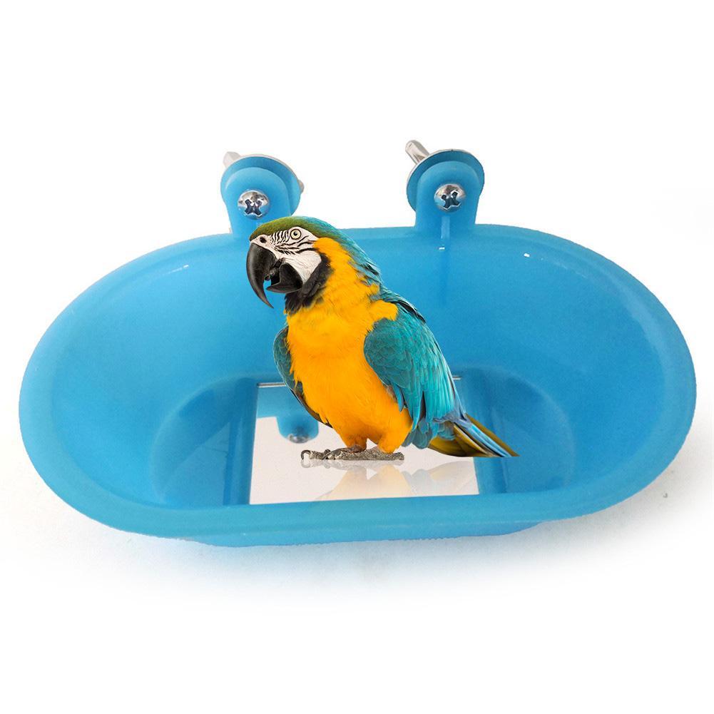 New Parrot Bathtub With Mirror Bird Mirror Bath Shower Box Mirror Toy For Budgerigar Peony Bird