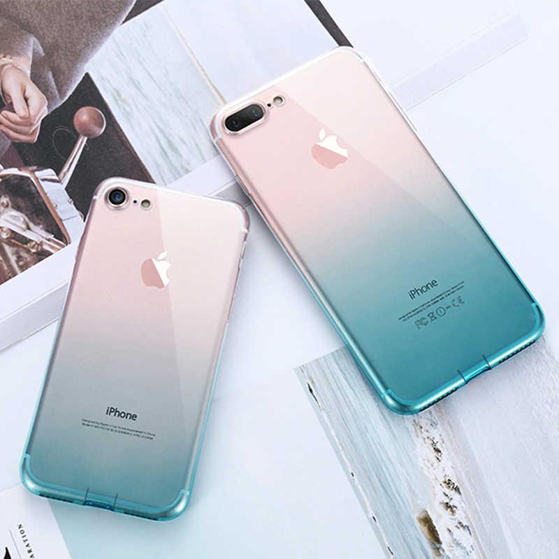 Gradient Trong Suốt TPU Ốp Lưng điện thoại Iphone 6 6S 7 8 Plus Siêu Mỏng Trong Suốt Viền Bảo Vệ cho IPhone X XS Max XR Fundas