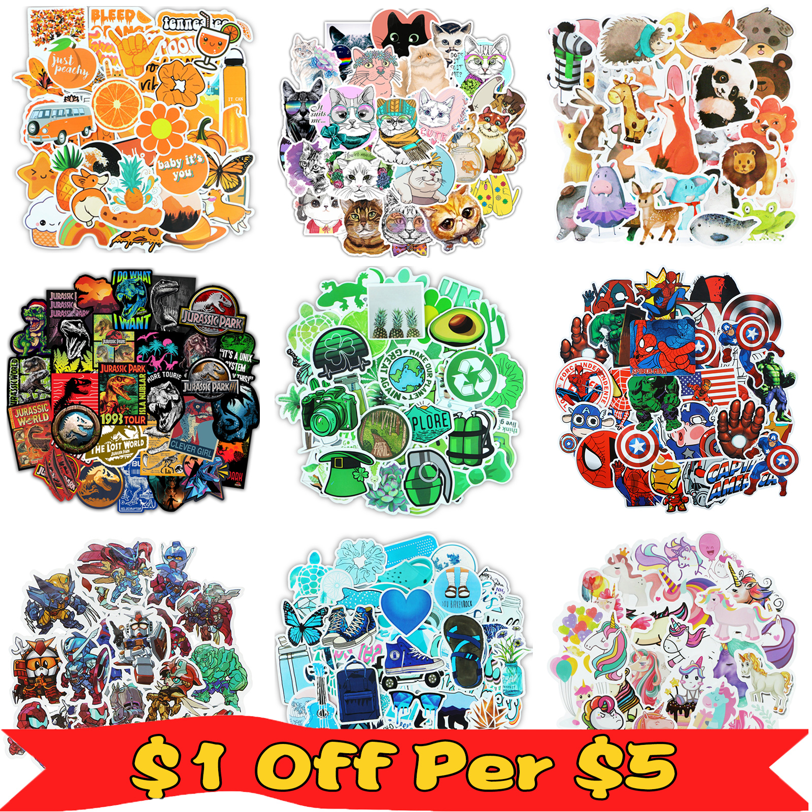 52/50 Pcs/Lot VSCO Stickers Mixed Cartoon Animal Super Hero Sticker For Water Bottle Luggage Notebook Skateboard Kids Toy