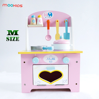 Mookids Children Wooden Kitchen Cooking Set Pretend Play Toy Cute Pink Mini Kitchen Learning & Education Wooden food Toy