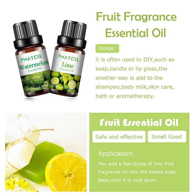 10pcs Fruit Fragrance Essential Oils Gift Set Strawberry Mango Watermelon Passion Fruit Coconut Flavoring Oil for Candle Making 3
