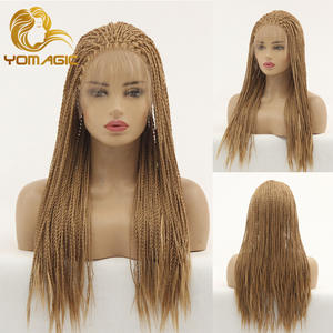 Yomagic Wigs Lace-Front Women Brown Color Long with Baby-Hair Senegalese 2X Twist-Braids