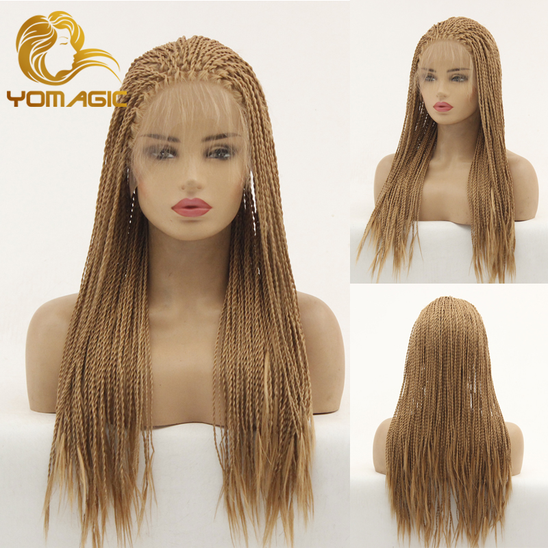 Yomagic Hair Long Synthetic Hair Lace Front Wigs With Baby Hair Brown Color Senegalese 2X Twist Braids Wig Hair Style For Women