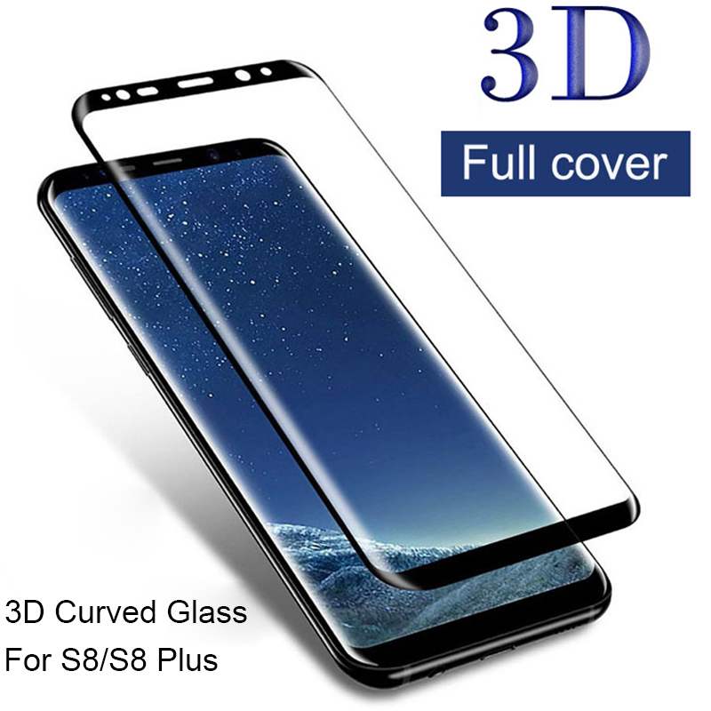 Glass Protective-Film Screen-Protector Samsung S8 S8-Plus Galaxy for on Curved-Cover