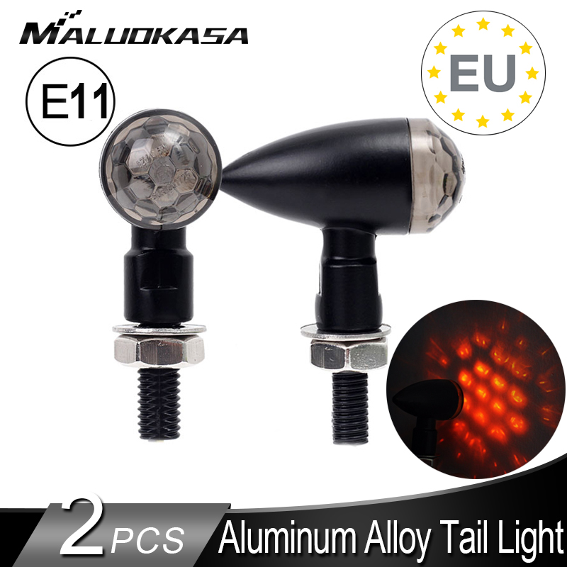 2PCS LED Turn Signals for Motorcycle Mini Blinker Tail Lamp E11 Stop Signal Fully Aluminum Motorbike Rear Indicator Arrows 12V