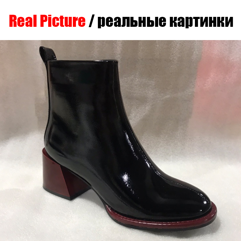BONJOMARISA New Brand Fashion Ladies Patent PU Booties Black Ankle Chealsea Boots Women 2019 High Wide Heels Shoes Woman in Ankle Boots from Shoes