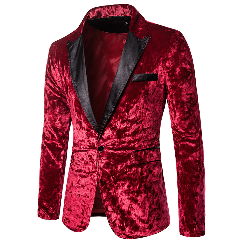 Men's Autumn Winter Velvet Wine Red Fashion Leisure Suit Jacket Wedding Groom Singer Slim Fit Hombre Masculino Blazer
