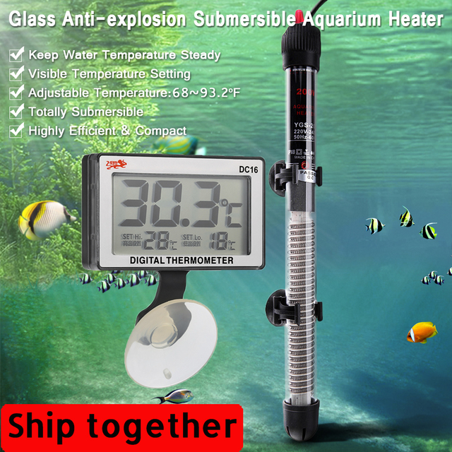 Mini Aquarium Heater 20 34°c 100W Submersible Fish Tank Heating Rod 220 240V Aquarium Thermometer Fish Tank Aquarium Accessories