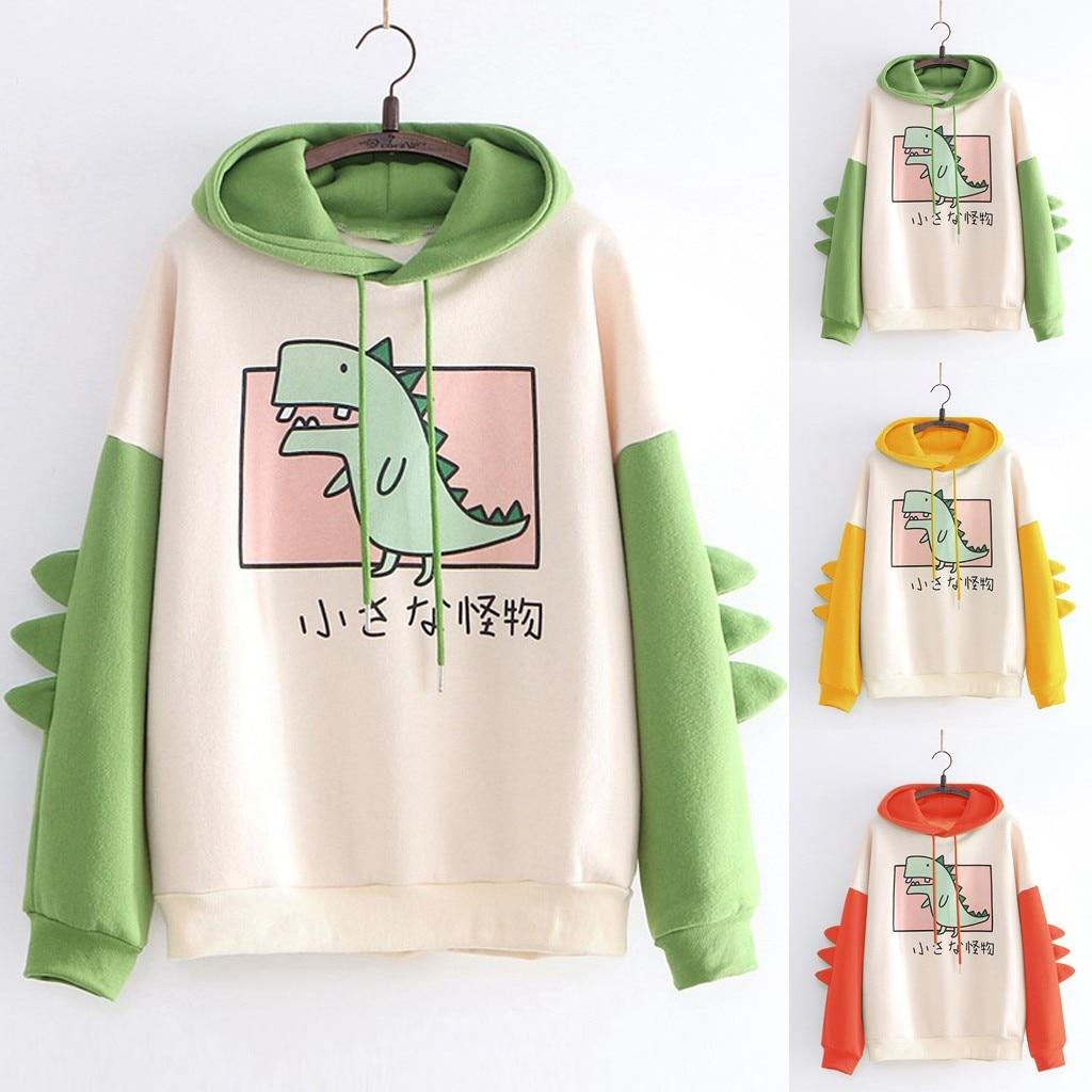 Dinosaur Sweatshirts Women Hoodies Warm Pullovers Tops With Horns Harajuku Hooded Girls Teens Cute Kawaii Hooded Sweatshirts#G1