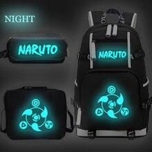 Naruto Anime Luminous Backpack for Boys Girls Kids School Bags Student Bookbag Kids Bagpacks with Lunchbag + Pen Bag Sac Enfant