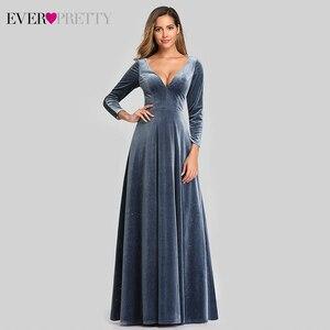 Sexy Dusty Blue Dresses Ever Pretty A-Line Deep V-Neck Lace Black Full Sleeve Velour Sparkle Formal Party Gowns Vestido De Festa