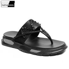 Summer Flip Flops Men Outside Platform 100% Genuine Leather Black Slippers Fashion Rivet Flat Shoes Mens Casual Beach Slipper