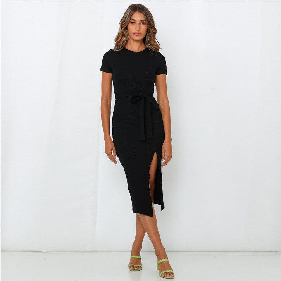 sikilely frauen sexy mantel bodycon midi kleid mit schlitz kurzen Ärmeln  dünne arbeit kleid krawatte gürtel schwarz vestidos