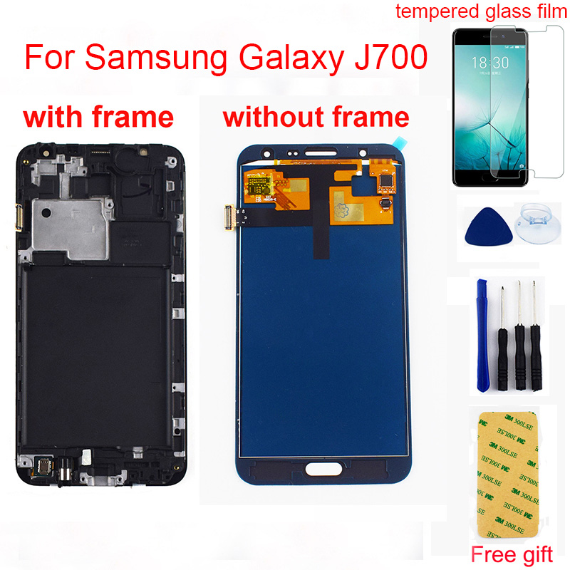 For <font><b>Samsung</b></font> Galaxy J7 2015 <font><b>J700</b></font> <font><b>lcd</b></font> SM - J700F J700M J700H <font><b>LCD</b></font> Display Monitor + Touch Screen Digitizer Sensor Assembly Frame image