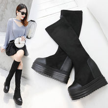 Round Toe Autumn Boots Lace Up Brand Women's Shoes Sexy Thigh High Heels High Sexy Bootee Woman 2019 Booties Ladies Clogs(China)