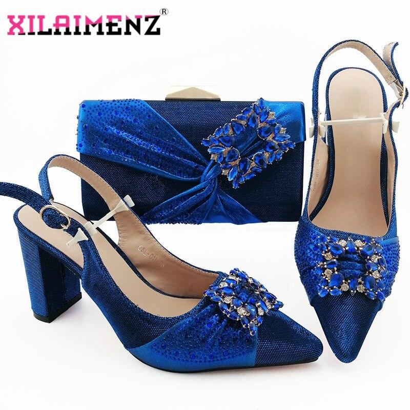 2019 새로운 디자인 로얄 블루 나이지리아 신발 일치하는 가방 세트 지적 발가락 샌들 신발 로얄 파티에 대 한 일치하는 가방-에서여성용 펌프부터 신발 의  그룹 1