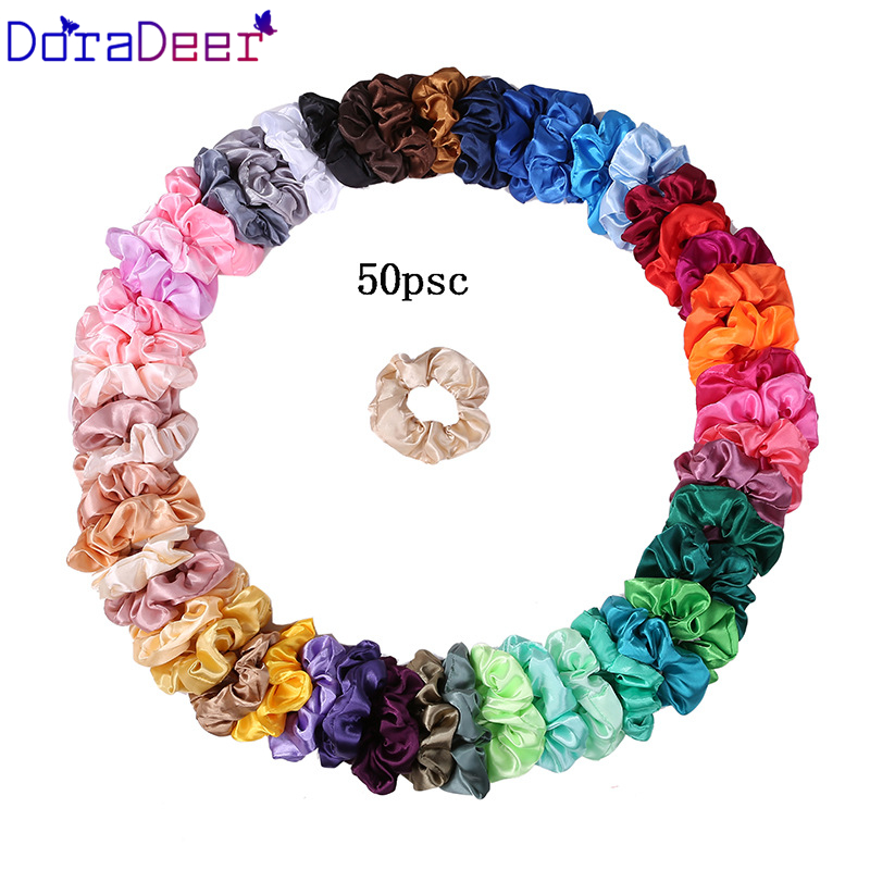 Doradeer Fasion Headband Solid Color Lady Elastic Silk Scrunchie For Women Girl Ponytail Holder Hair Bands Pack Hair Accessories
