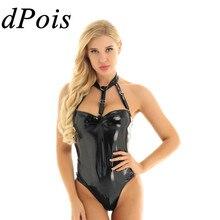 DPOIS seksi Bodysuit tulum sıska tulum kadın iç çamaşırı lateks vücut Teddies yüksek kesim tanga Leotard Catsuit mayo mayo