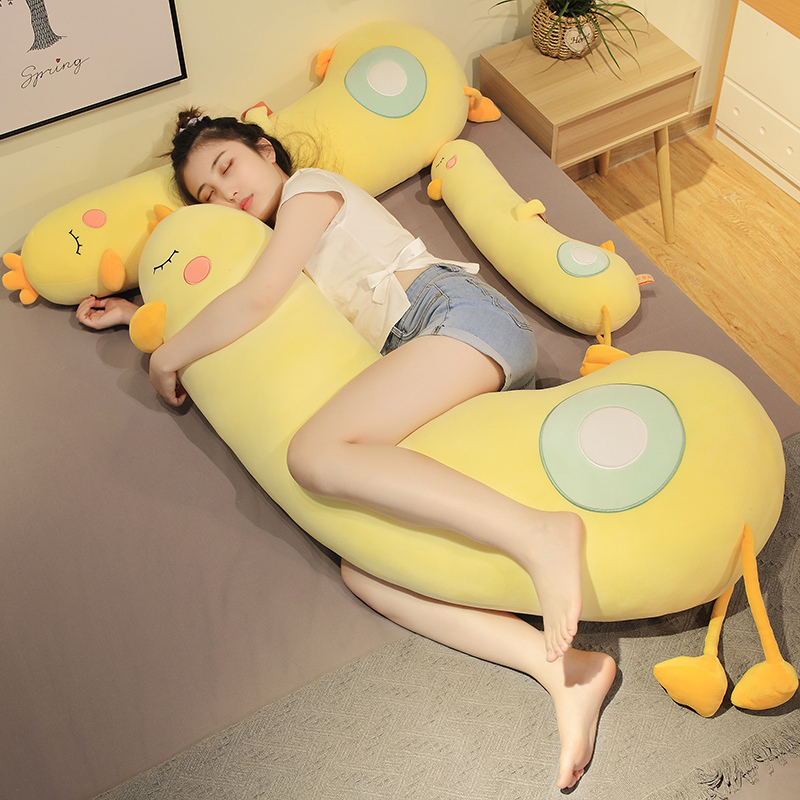 70-150CM Gaint Stuffed Down Cotton Cartoon Cute Yellow Duck Plush Toys Soft Baby Long Pillow Cushion Kids Girls Christmas Gift