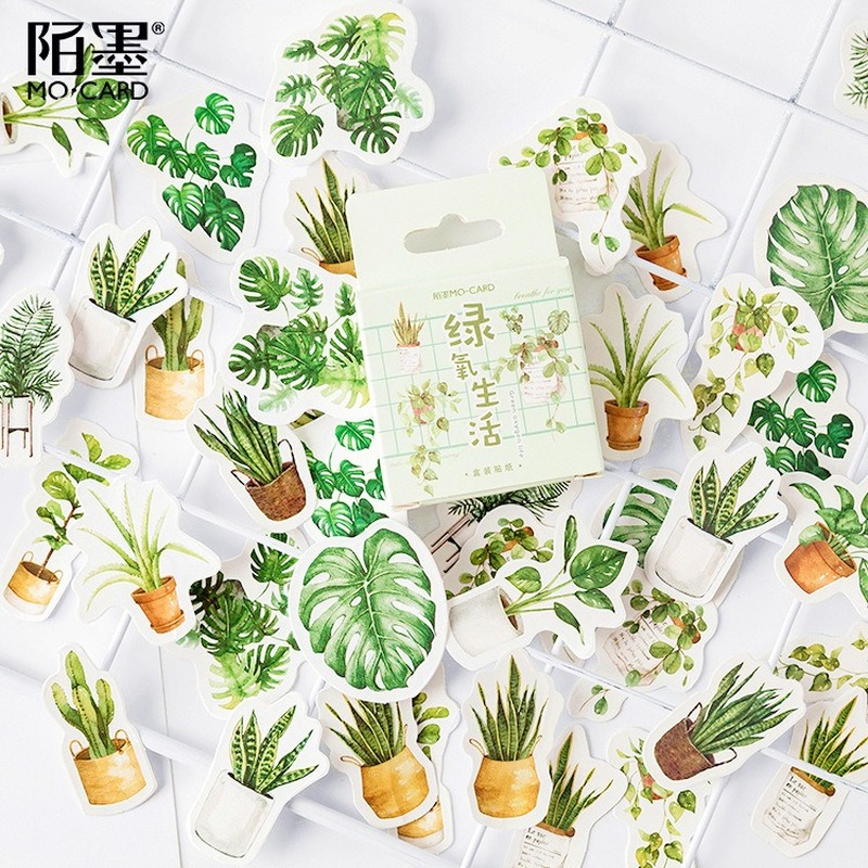 Boxed Adhesive Stickers Green Plant Diary Decoration Envelope Sealing Scrapbooking Stickers Statione