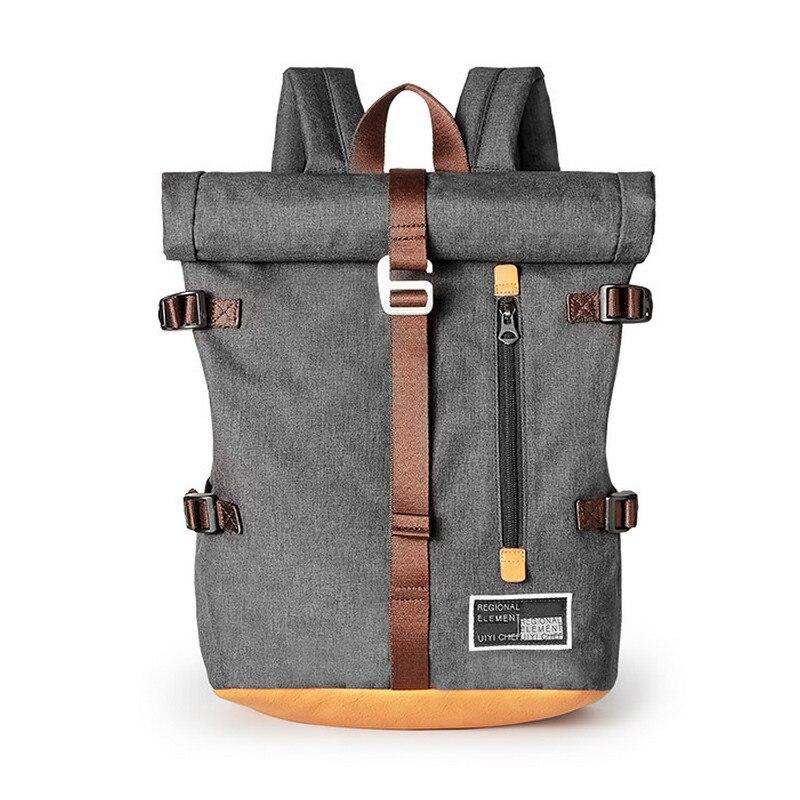 UIYI Design Fashion Men Backpacks Street Casual Laptop Grey Polyester Bag School College Travel Women Backpack 190040