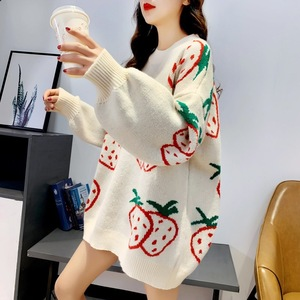 Red cherry sweater woman big red this year strawberry sweet lazy wind loose Christmas knit sweater autumn and winter tide