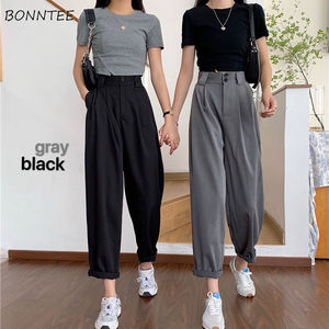 Straight Pants Women BF Style Chic Trendy Ladies Ankle-Length Trousers Summer New All-match College Classic Teens Pantalones Hot